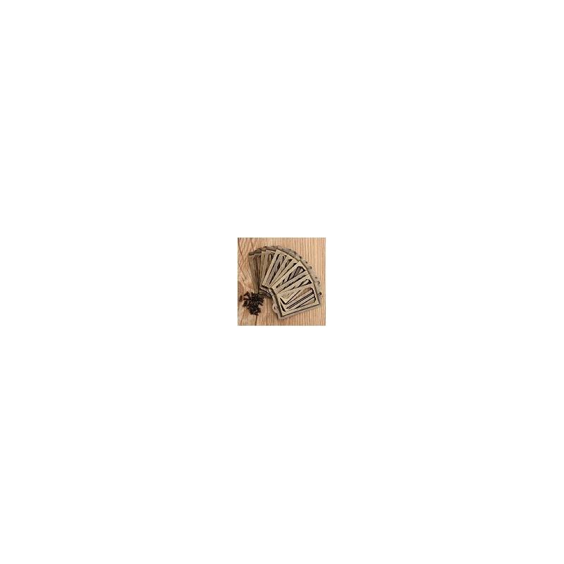 Pack 12 Marco Porta Etiqueta de Cajon Antiguo Para Muebles mas 24 Tornilllos