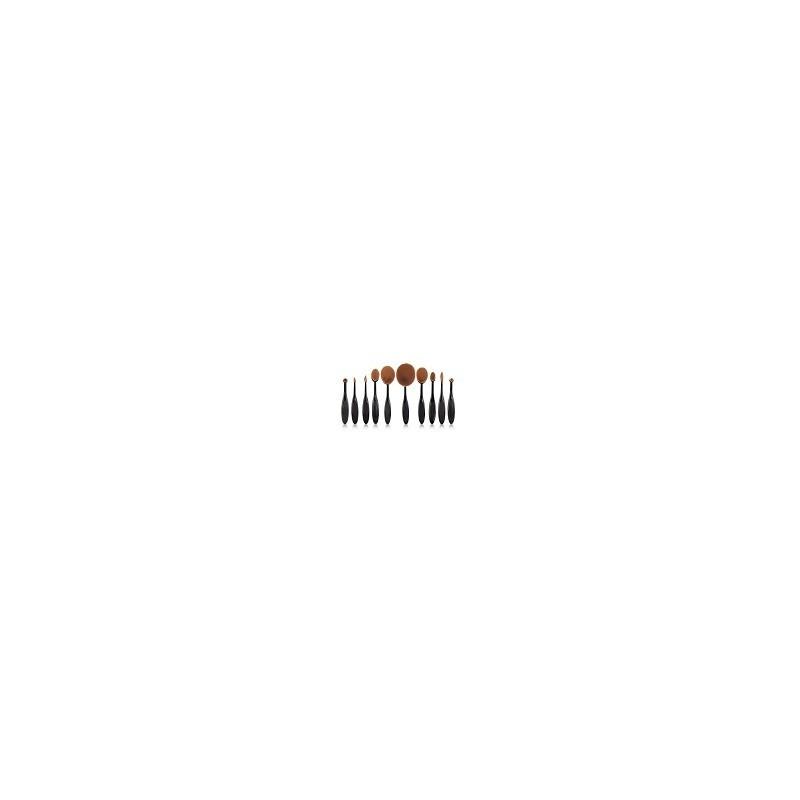 Set 10 Pinceles y Brochas de Maquillajes Ovaladas Oval Brush