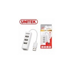 Mini Hub 4 Puertos Usb 2.0 Color Blanco 11 Cm Unitek