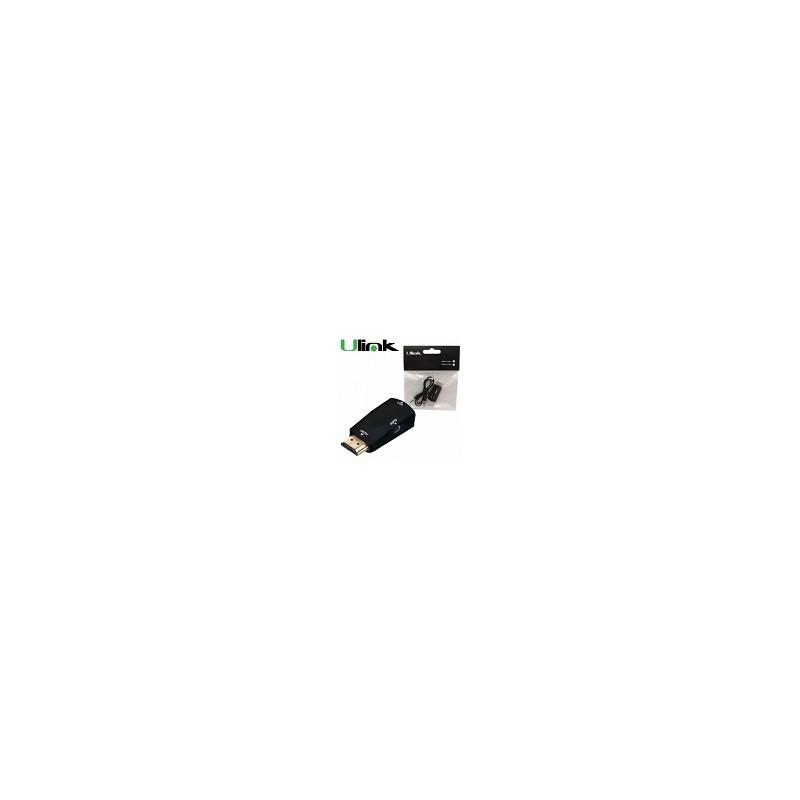 Mini Adaptador de Hdmi Macho Con Audio a VGA Hembra Ulink