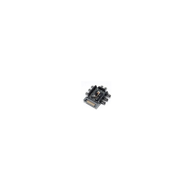 Hub Ventiladores 1 a 8 3Pin Conector Sata Splitter Fan Regulador Velocidad