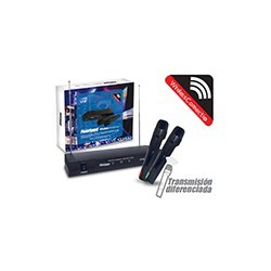 Kit 2 Microfonos Karaoke VHF Inalambrico Powersound
