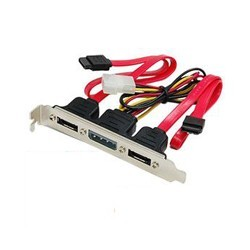 Adaptador Doble SATA a eSATA + Cable de Poder PCI Bracket