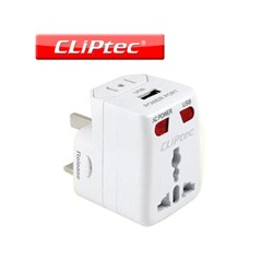 Adaptador enchufe universal de viaje con puerto USB Cliptec