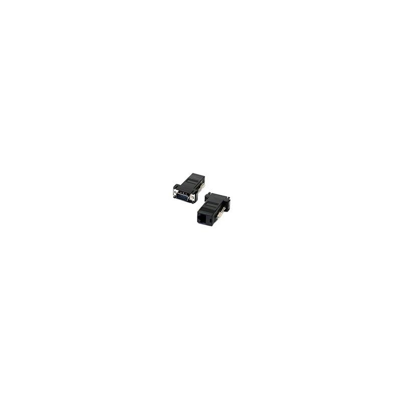 Par Extensor VGA Macho a Conector RJ45 Cat5 Cat5e Adaptador